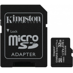 Флеш карта microSDHC 32GB  Class10 Kingston <SDCS2/32GB> Class10 UHS-I Canvas Select up to 100MB/s с адапт.
